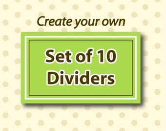 Set of 10 Closet Organizer Clothing Dividers - Create your Own
