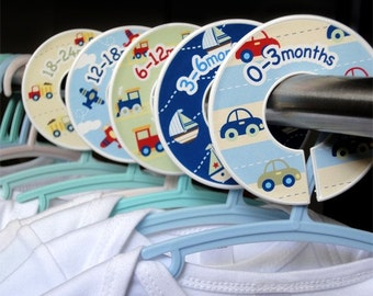 Baby Closet Dividers Clothing Organizers - Planes, Trains and Cars