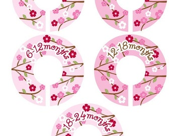 Cherry Blossom Closet Clothes Dividers for Girls - Set of 5 Assorted