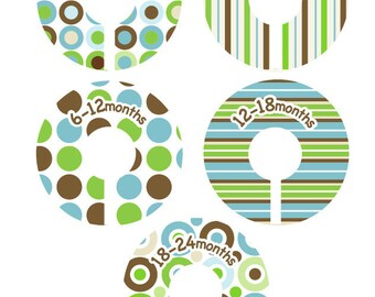 Baby Closet Dividers Organizer Clothing Dividers - Modern Pop Blue Green and Brown
