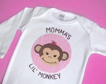 Momma or Daddy's Lil Monkey Long Sleeve One-Piece or Shirt for Girl