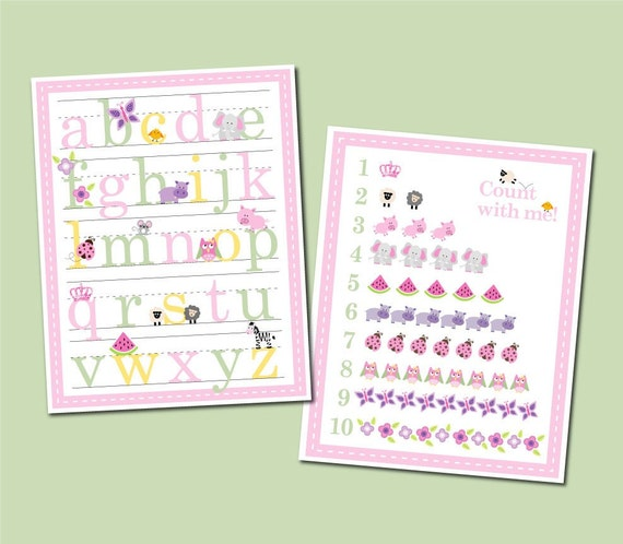 11x14 Girl Alphabet and Number Counting Poster