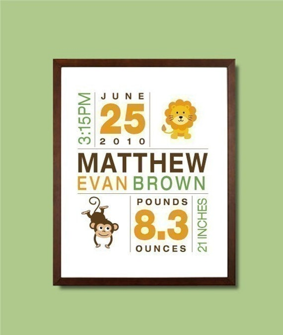 Baby Birth Print - Birth Announcement Nursery Wall Art Print - Personalized baby prints birth stats baby stats