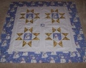 Ohio Star Quilt Top With Snowman Centers - 42 x 42