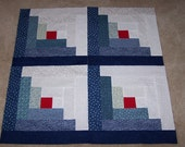 Log Cabin Quilt Blocks - Blues - Quilt top