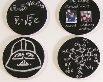 Metal Chalkboard Button or Pin with mini eraser, chalk and magnets