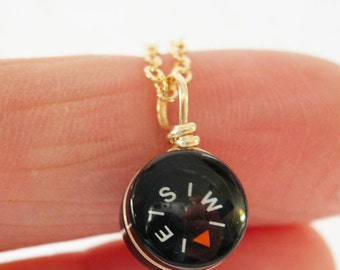 Tiny Compass Gold Necklace - Micro Black
