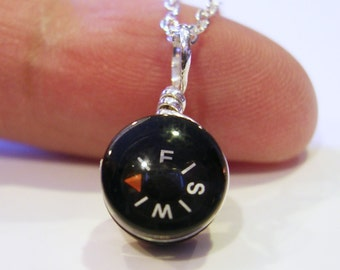 Tiny Compass Necklace - Micro Black