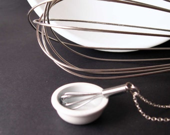 Mini Working Wire Whisk Necklace - Let Me Whisk YOU Away Sterling Chain