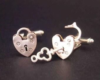 Mini Opening Closing Vintage Padlock Cufflinks - Unlock My Heart