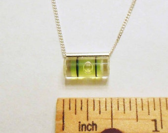 Level With Me - Mini Green Slide Bubble Level Necklace on sterling chain