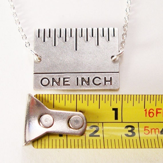 Give Me An Inch - Real Inch Ruler Necklace Antique Silver
