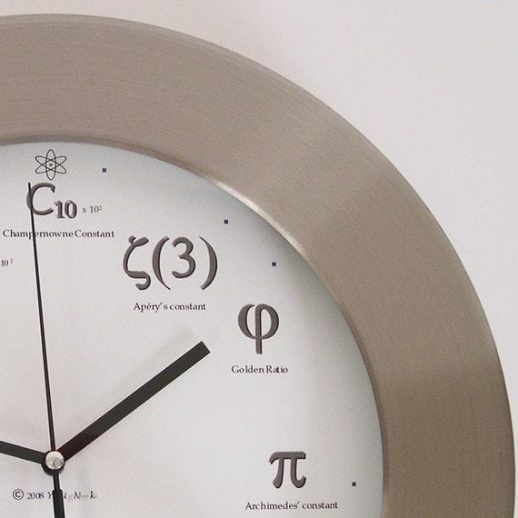 Slightly Irregular Metal Geek Clock - I'll meet you at PI for pie