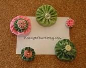 Bulletin Board Baubles. Pretty Push Pins. Fresh Flowers. Set B.