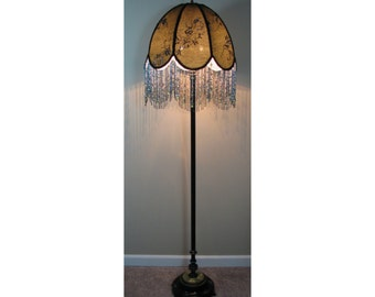 Vintage floor lamp with victorian l amp shade evening in the orient