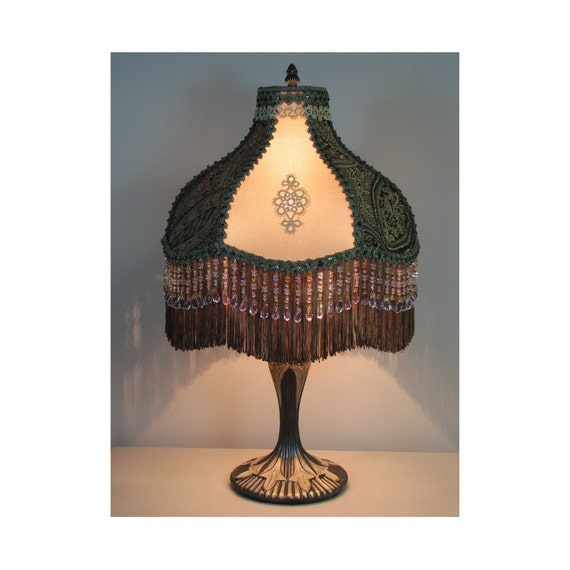 SALE   Victorian Style Table Lamp with Victorian Lamp Shade - Prince Edward   0408