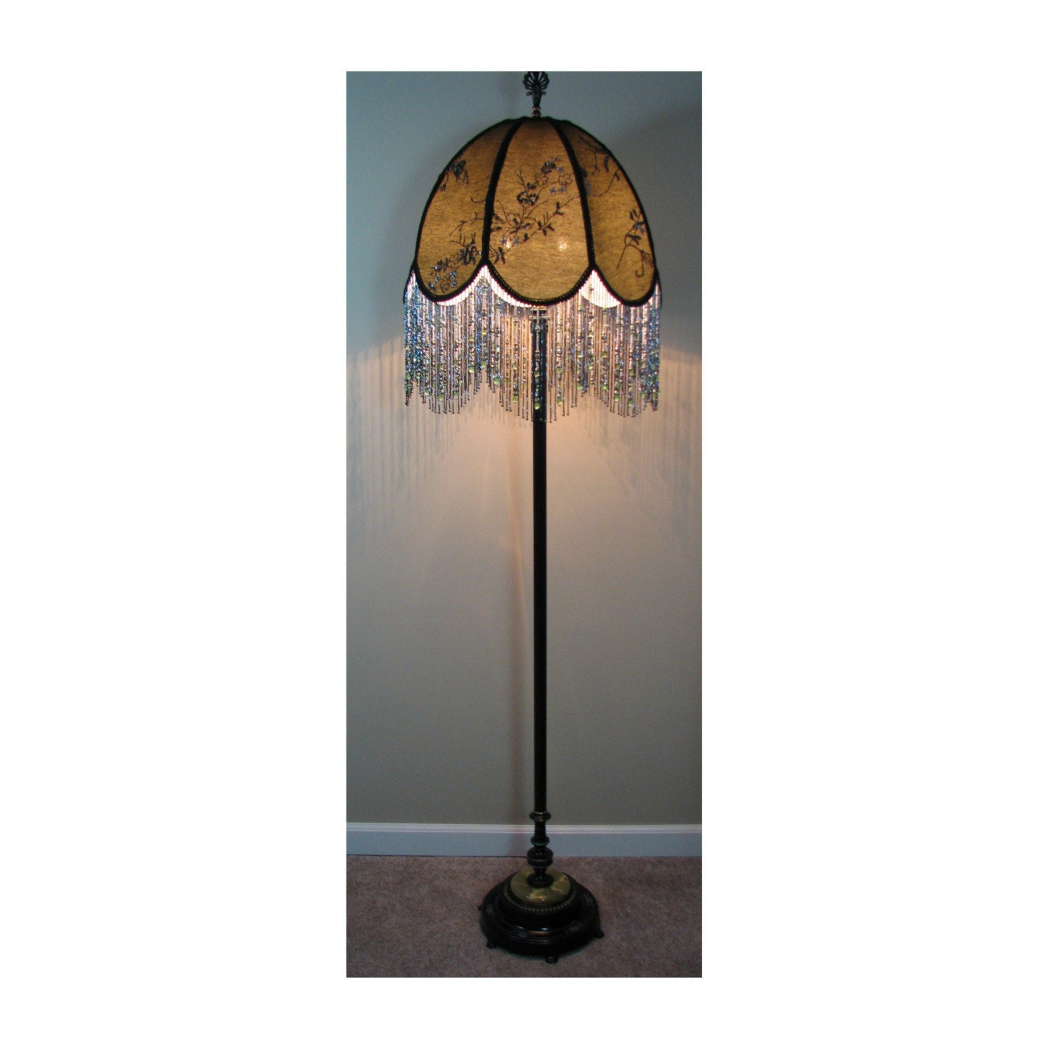 Vintage floor lamp with victorian lamp shade by for Victorian wooden floor lamp