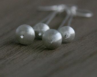 Orbit Earrings in sterling silver, handmade beads in matte finish