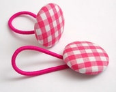 Button Ponytail Holders. Hot Pink Gingham.