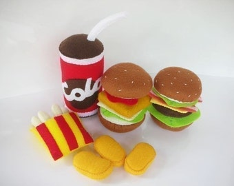 Fast Food Happy Meal Set Sewing Pattern PDF (Burger, French Fried and Soft Drink)