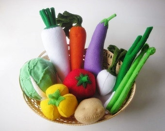 Bundle Lovely Vegetables Set 1-2  PDF Felt Sewing Pattern (19 Vegetables Patterns include)