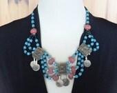 Tribal Bib Necklace - vintage boho bohemian statement necklace