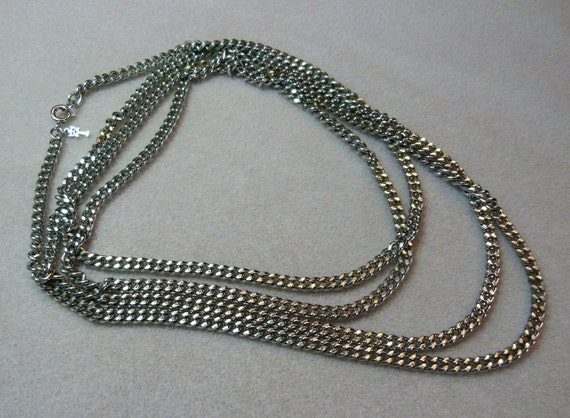 "Vintage Crown Trifari 60"" (five feet) Super Long Chain Link Necklace"