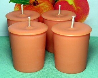 Apricot and Cream PURE SOY  Votive Candles (Set of 4)