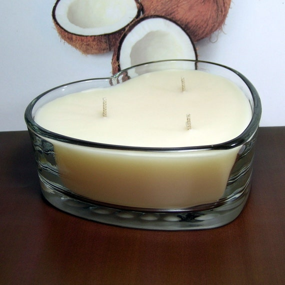 Coconut PURE SOY Heart Container Candle 16 oz.