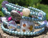 SALE 4 Loops Vintage Beads White Cat Wrap Around Bracelet