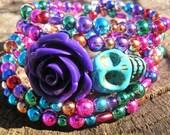 Mardi Gras The Original Day of the Dead Bracelet 5 Loops Wrap Around Memory Wire Dia De Los Muertos skull bracelet skull jewelry