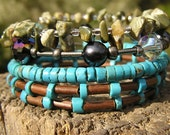 SALE Earthy JeweLs. 5 Rows Wrap Around Memory Wire BraceLeT NO Skulls