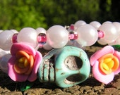 The Original Day of the Dead Wrap Around Bracelet 2 loops pink white turquoise blue OOAK