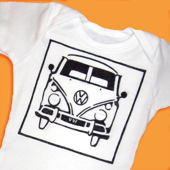 Hand Painted Volkswagen Bus Baby Bodysuit or Kid's T-Shirt (newborn-kid's 6/8)