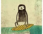 Surfing sloth A4 print - lukaluka