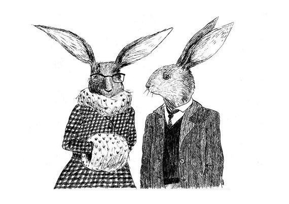 Rabbits in winter A4 print