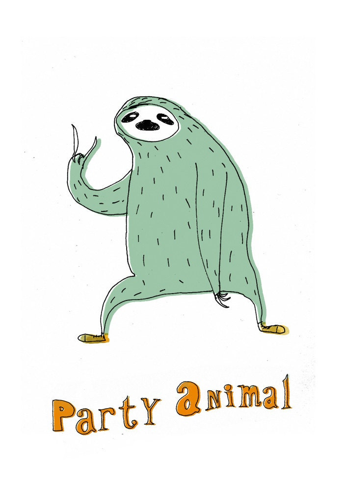 Sloth in party hat