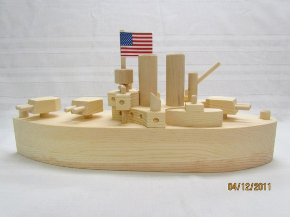 Battleship Wooden Toy 15 Long all natural finish On by mikebtoys