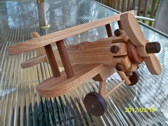 Large Airplane Bi Plane Wooden Beautifully detailed  Heirloom Quality  Oak hand  finished with all natural beeswax  FREE SHIPPING Free Toys