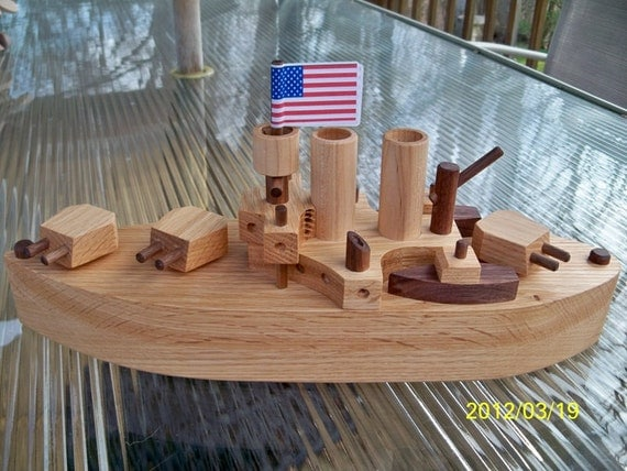 Battleship Wooden oak Heirloom Quality Beautifully Hand Finish with all natural Beeswax