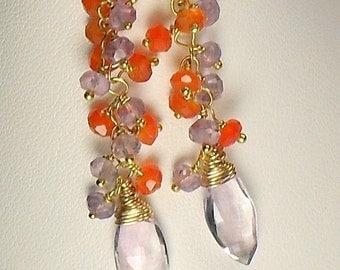 25% OFF Amethyst Carnelian Dangle Earrings