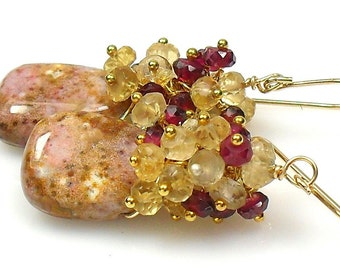 SUMMER SALE Rubellite Garnet and Lemon Quartz Cluster Earrings