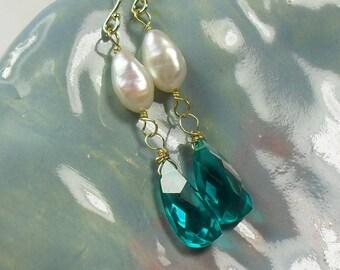 Teal Quartz Pearl 14K Gold Earrings