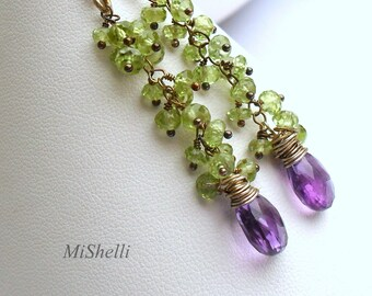 Peridot and Amethyst Gemstone Oxidized Dangle Earrings
