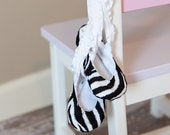 Size 3-9 Months - Ballet Baby Booties Zebra Print with Black Laces