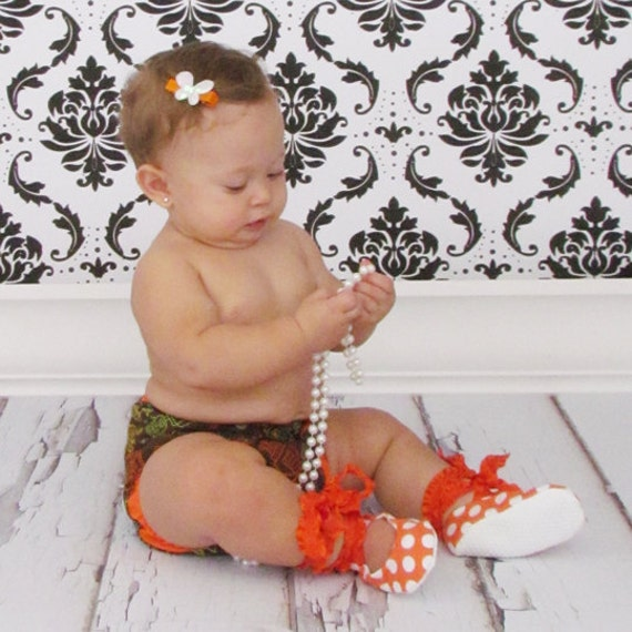 50% OFF - Entire Store - Size 3-9 Months - Ballet Baby Booties WITH Jiffy Grip Bottoms - Pumpkin Orange