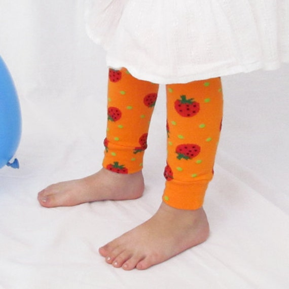 50% Off Entire Store - Baby Leg Warmers - Strawberries On Orange - One Size