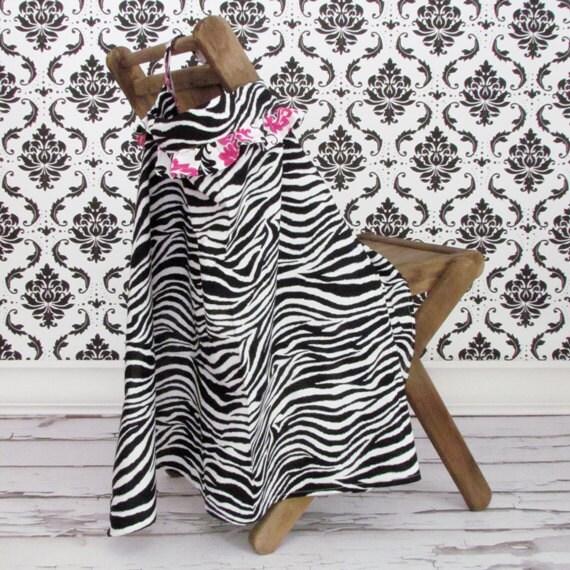 Black And Pink Zebra Print Ruffled Nursing Cover - Breast Feeding Apron