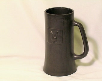 Playboy Stein pewter colored glass collectible