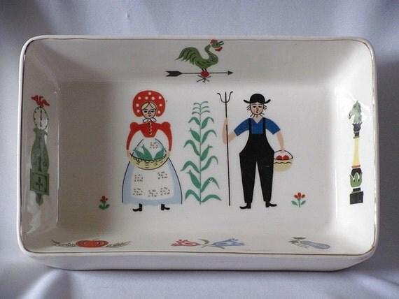 Pennsylvania Dutch Handmade glazed Pottery Fraktur Design